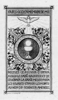 Archbishop Lefebvre's Ordination Card