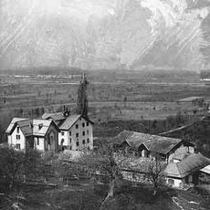 An old picture of the original buildings of the Econe Seminary before the dormitory was built