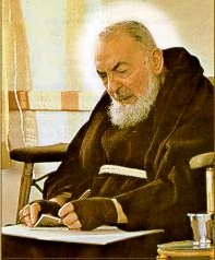 Padre Pio writing